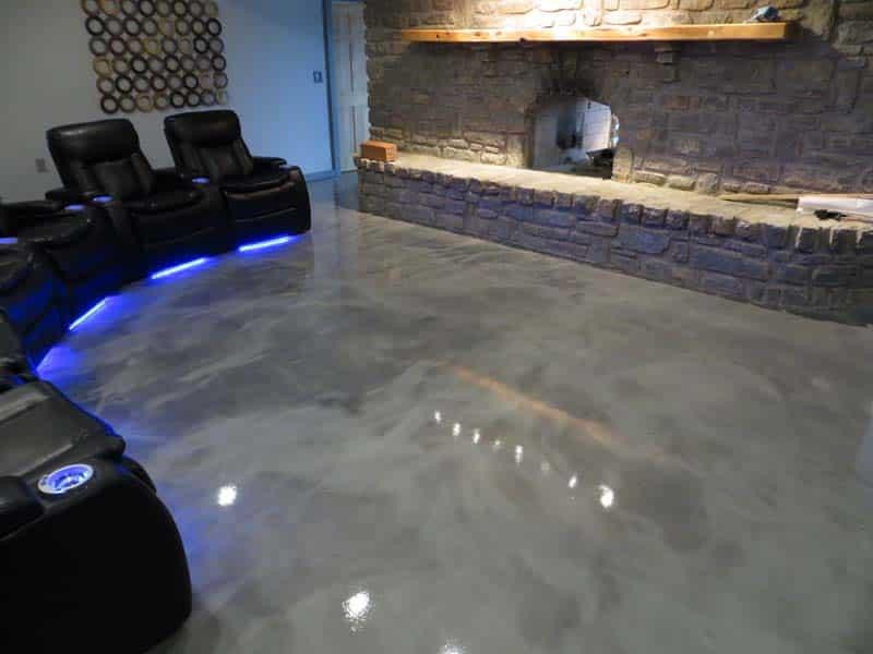 Metallic Marble Home Theater Concrete Floor